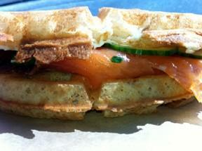 Smoked Salmon waffle sandwich